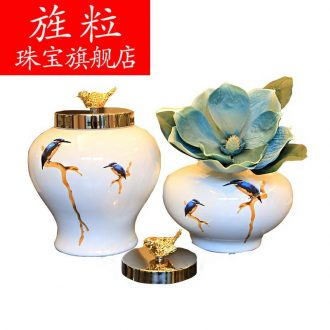 Bj creative home sitting room between example of new Chinese style restaurant decorations furnishing articles ceramic vase decoration storage tank