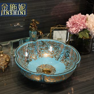 Gold cellnique European art basin of household ceramics basin bathroom basin taps blue gold coloured drawing or pattern