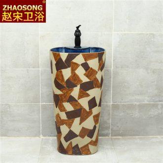 Basin of jingdezhen domestic large conjoined ceramic column pillar lavabo courtyard balcony sink basin antifreeze