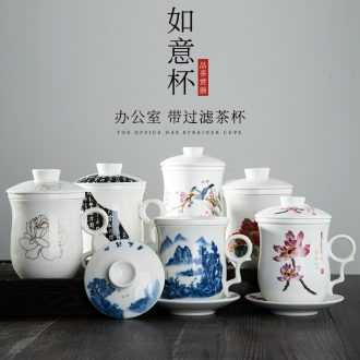 Jingdezhen ceramic cups with cover office hand-painted bone China cup of conference room tea cup home four cups