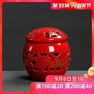 China red tea pot chrysanthemum patterns put POTS wedding wedding seal tank storage tank ceramic moistureproof