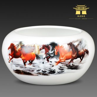 Big ashtray jingdezhen ceramic creative furnishing articles fashionable sitting room of new Chinese style tea sea restoring ancient ways and practical writing brush washer