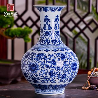 Antique hand-painted blue and white porcelain in jingdezhen ceramics dried flowers large vases, furnishing articles sitting room of new Chinese style household decorations