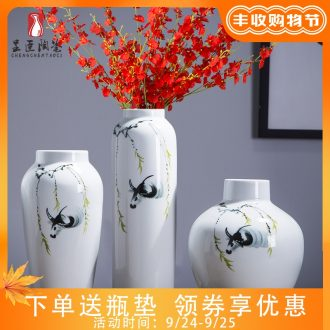 Jingdezhen ceramic vases, contemporary and contracted white tea table table place adornment flower arranging wide mouth porcelain vase
