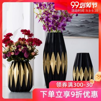 Jingdezhen ceramic household adornment black vase, the sitting room porch place vase dried flower flower implement China northern Europe