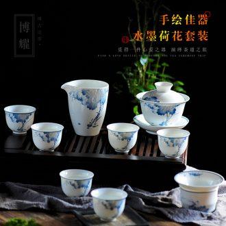 Bo yiu kung fu tea set of a complete set of household porcelain jingdezhen small set of hand-painted ceramic teapot teacup tea sea