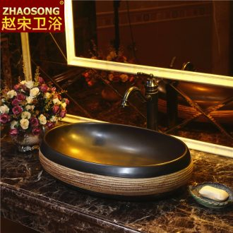 Zhao song art stage basin ceramic lavatory oval basin of Chinese style restoring ancient ways antique table face basin sink