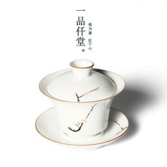 Yipin # $hand-painted tureen fat white three cups to tureen ceramic worship bowl kung fu tea tea bowl