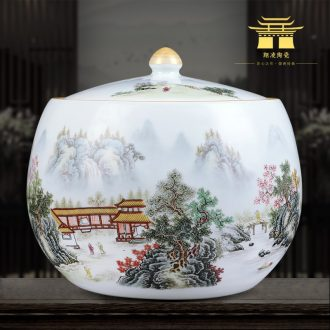 Jingdezhen blue and white ceramics powder enamel vase XianGe qing hand-painted home sitting room adornment is placed in the tea pot