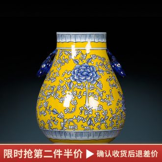Jingdezhen ceramic vase hand-painted antique yellow blue and white porcelain paint deer head statue of painting and calligraphy study adornment furnishing articles