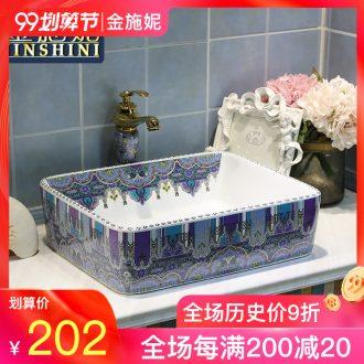 Gold cellnique jingdezhen ceramic lavabo art basin bathroom rectangular lavatory Bohemia