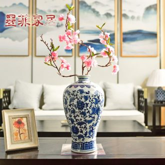 Murphy jingdezhen blue and white porcelain vase classical bedroom living room study of new Chinese style porch decoration floral suit