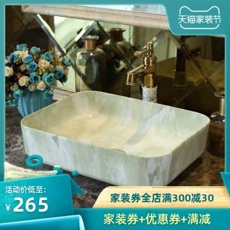 Basin art ceramics on the rectangle Europe type restoring ancient ways sink imitation marbled bathroom sinks