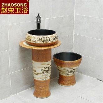 Pillar type restoring ancient ways outdoor lavatory washbasins courtyard northern European outdoor floor pillar ceramics basin
