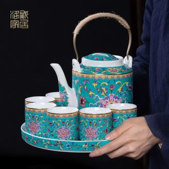 Cool colored enamel kettle sets jingdezhen ceramic household of Chinese style old archaize large-capacity cold pot teapot