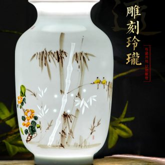 Jingdezhen ceramics hand-painted flower arranging porch sitting room of Chinese style household table decorations TV ark vase furnishing articles