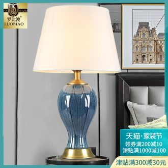 Europe type desk lamp lamp of bedroom the head of a bed creative American contracted household sweet romance adjustable warm light LED ceramic lamp