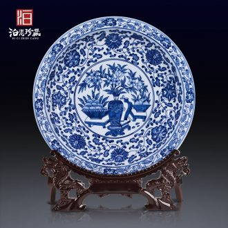 Jingdezhen ceramics antique blue-and-white bound lotus flower big porcelain hang dish hanging new Chinese style household rich ancient frame furnishing articles