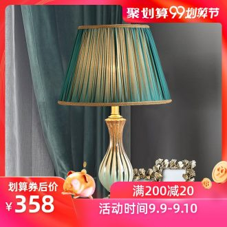 American whole copper ceramic desk lamp LED the study of bedroom the head of a bed model chandeliers contracted sweet and creative personality