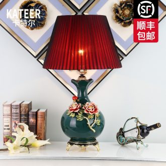 Cartel new Chinese style living room lamp lamp of bedroom the head of a bed the american-style villa decoration colored enamel porcelain lamp