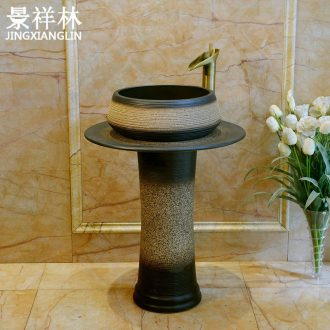 Archaize ceramic toilet one-piece basin balcony column type lavatory floor balcony column basin