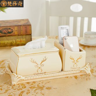 European household multifunctional sitting room adornment tissue box receive a case creative pick a ceramic paper carton box remote control