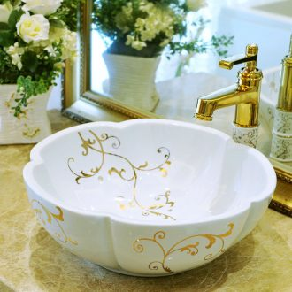 Package mail petals jingdezhen art basin modelling lavatory washbasins stage basin & ndash; Golden flower vine