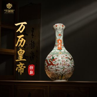 Better sealed kiln jingdezhen antique hand-painted ceramic vase sitting room place dragon garlic bottles of household adornment small mouth