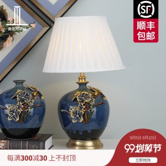 New Chinese style colored enamel lamp sitting room luxury type copper all ceramic lamp is acted the role of creative villa of bedroom the head of a bed