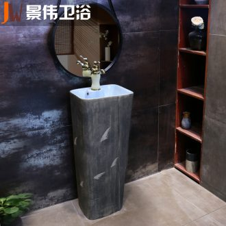 Retro pillar type lavatory floor balcony ceramic basin outdoor toilet lavabo pillar basin