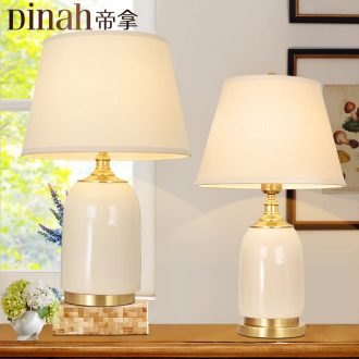 Jingdezhen ceramic ice crack lamp American simple sweet bedroom nightstand lamp Nordic new sitting room lamps and lanterns