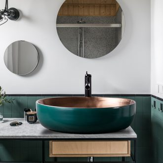 Outside in the dark green gold European stage basin elliptical Nordic household contracted wind ceramic lavabo art creative basin