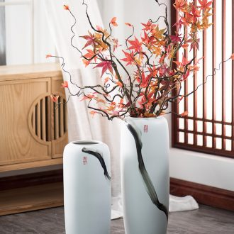 Hand draw large vases, new Chinese style household adornment white furnishing articles sitting room dry flower art of jingdezhen ceramic arranging flowers