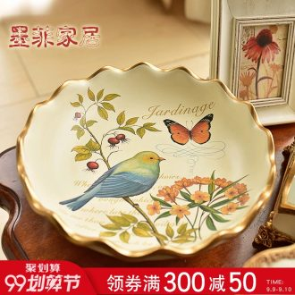 Murphy European rural retro ceramic large fruit bowl American country sitting room tea table snack plate dry fruit tray