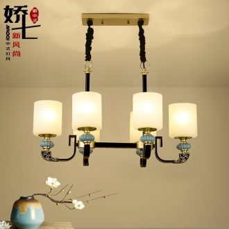 Jiao seven new Chinese style restaurant droplight, wrought iron chandelier glass ceramic rectangle classical atmospheric lighting lamps and lanterns restoring ancient ways