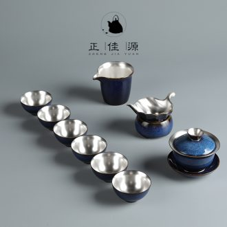 Is good source 999 sterling silver tea set TuHao blue tureen ceramic cups domestic high-grade tea sets gift box