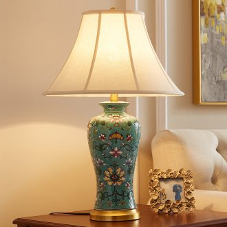 American sitting room bedroom berth lamp european-style villa rural new Chinese style sofa tea table full copper ceramic lamp