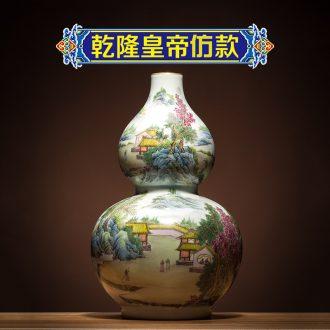Ning hand-painted antique vase seal kiln jingdezhen ceramic bottle furnishing articles landscape gourd bottle of new Chinese style antique porcelain