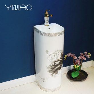 Million birds pillar basin floor archaize ceramic art of pillar lavabo lavatory northern wind one basin
