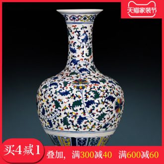 Antique Chinese classical design of blue and white porcelain jingdezhen ceramics vase rich ancient frame furnishing articles large sitting room adornment