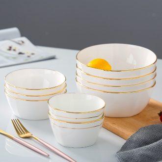 Jingdezhen manual paint western ceramic bowl bowl bowl household tableware suit creative bone porcelain bowl