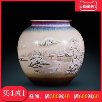 Jingdezhen ceramic hand-painted pot-bellied vases, flower arrangement sitting room adornment furnishing articles study Chinese painting and calligraphy scrolls cylinder