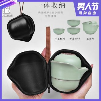 Tao fan your kiln to crack a pot of three portable travel two cup of household ceramics kung fu tea set the teapot