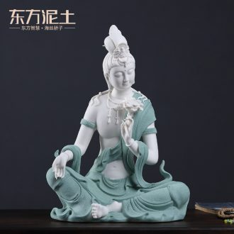 Oriental clay ceramic Chinese zen furnishing articles dehua white porcelain lotus hidden at home sitting room guanyin handicraft