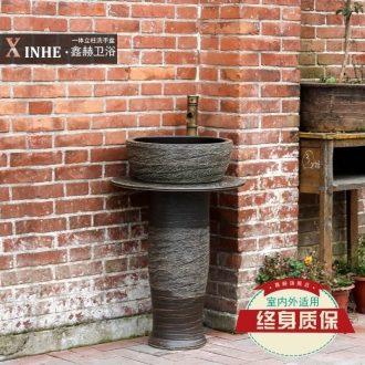 Column column basin sink ceramic small basin bathroom simple one floor balcony toilet commode pool