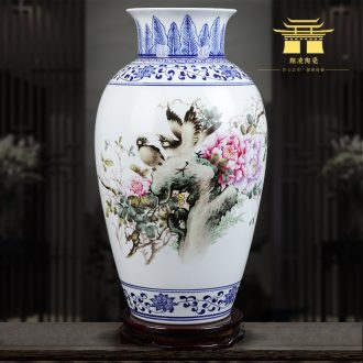 Insert blue enamel vase blooming flowers famous jingdezhen ceramics hand-painted home sitting room adornment is placed