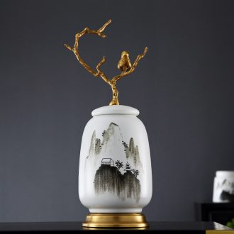 Lamp act the role ofing furnishing articles form a complete set of new Chinese style ceramic vases, cut all of contemporary and contracted copper art hand-painted decorative landscape