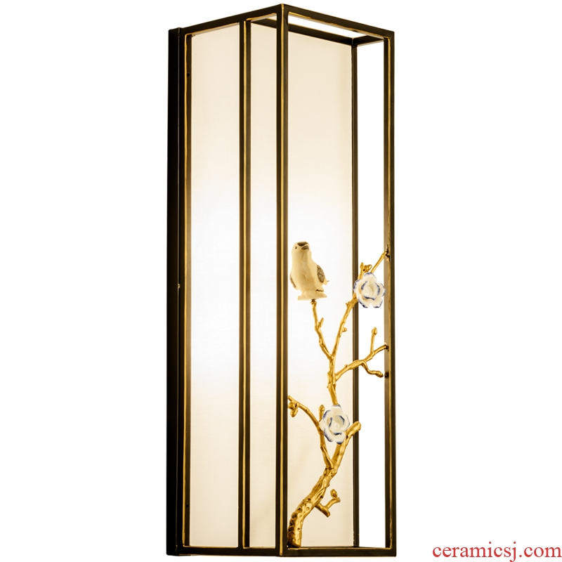 Jiao seven full copper cuttlefish new Chinese style living room wall lamp atmosphere contracted bedroom berth lamp Chinese wind restoring ancient ways ceramic bird