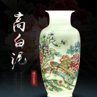 Vase of jingdezhen ceramic vase high white mud thin foetus pastel blue and white porcelain vase vase rich ancient frame is placed in the living room