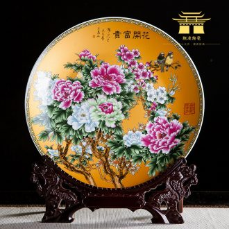 Jingdezhen ceramics ten inches of stroke blooming flowers adornment rich ancient frame hang dish sat dish household office furnishing articles